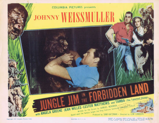 JUNGLE JIM IN THE FORBIDDEN LAND 1951 Lobby Card 1 Johnny Weissmuller