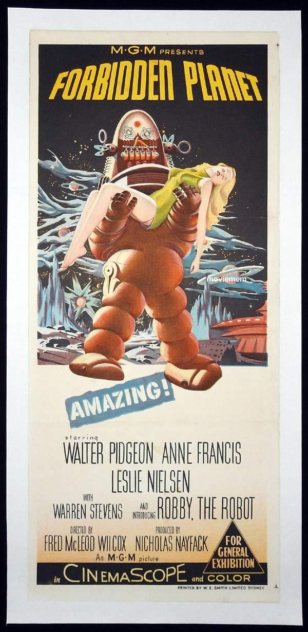 FORBIDDEN PLANET Original LINEN BACKED Daybill Movie poster Sci Fi classic