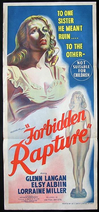 FORBIDDEN RAPTURE aka RAPTURE Original Daytbill Movie poster