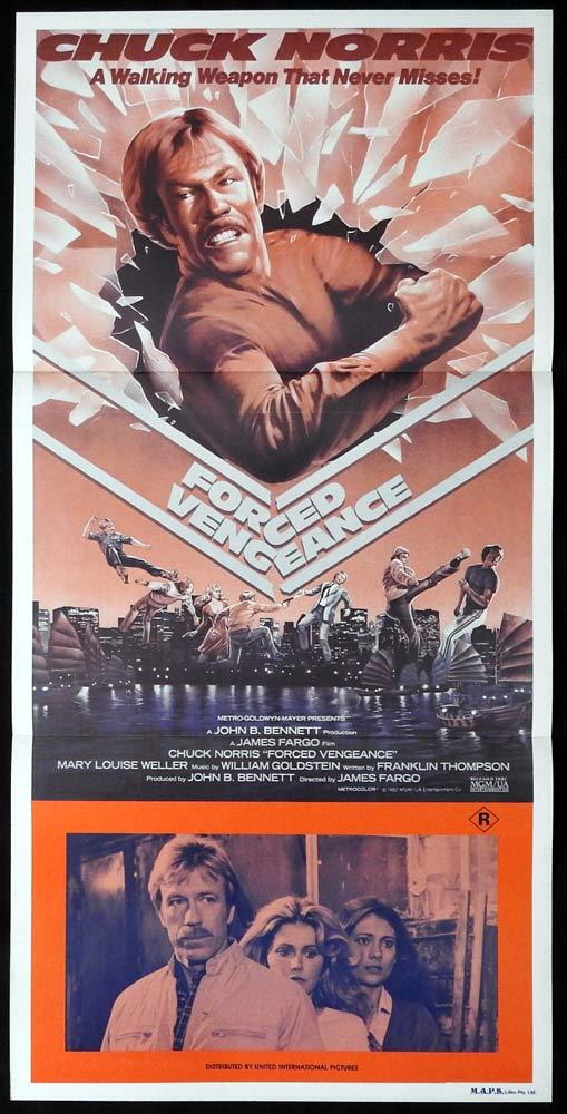 FORCED VENGEANCE Original Daybill Movie Poster Chuck Norris Martial Arts