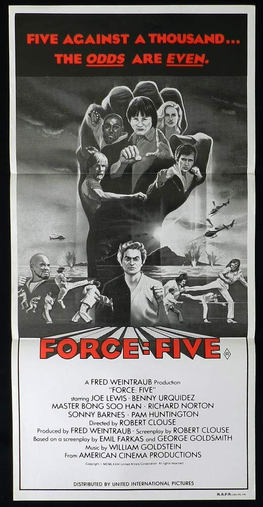 FORCE FIVE Original Daybill Movie poster Joe Lewis Bong Soo Han Martial Arts