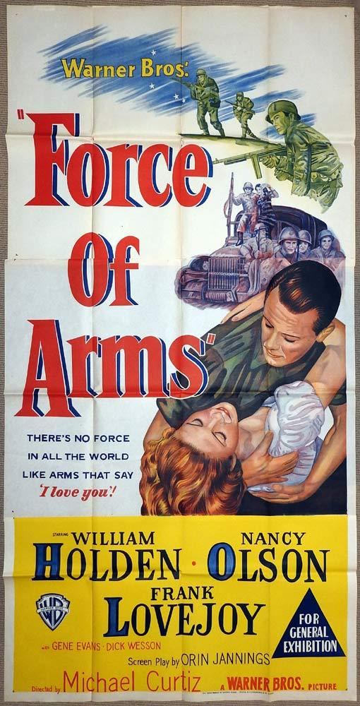 FORCE OF ARMS Original 3 Sheet Movie Poster William Holden Michael Curtiz