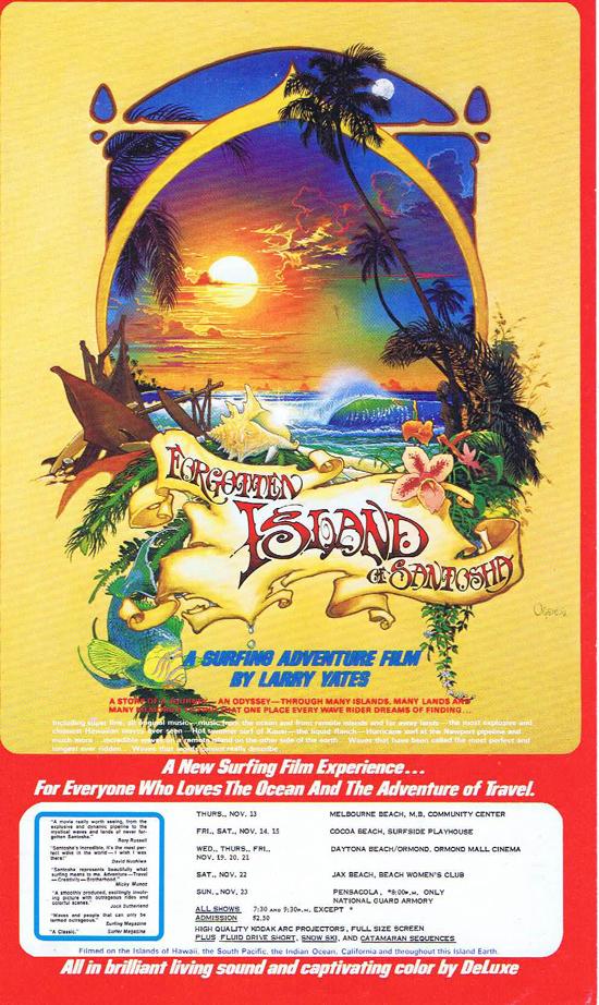 FORGOTTEN ISLAND OF SANTOSHA Movie Flyer Surfing Film Larry Yates