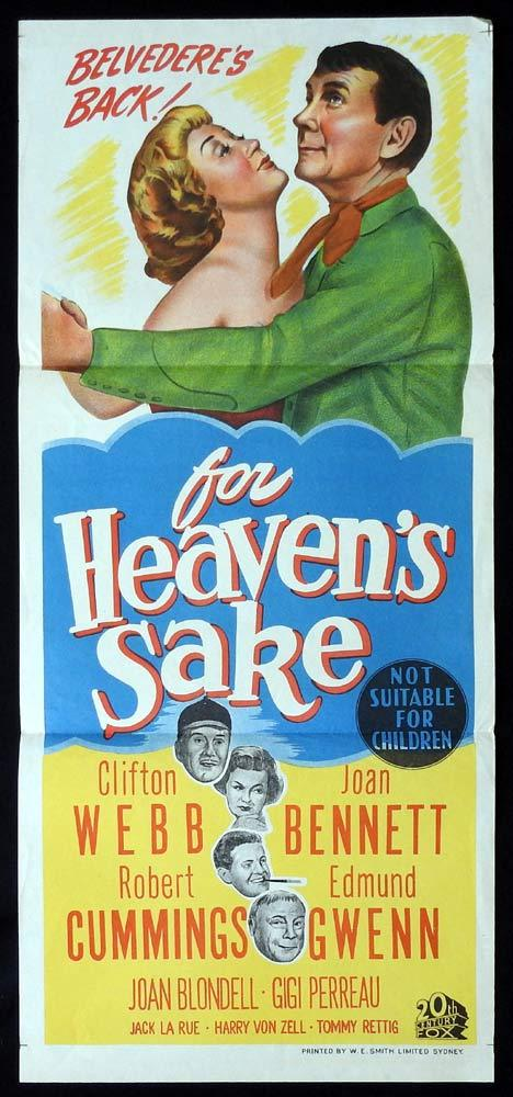 FOR HEAVEN'S SAKE Original Daybill Movie poster Clifton Webb Joan Bennett