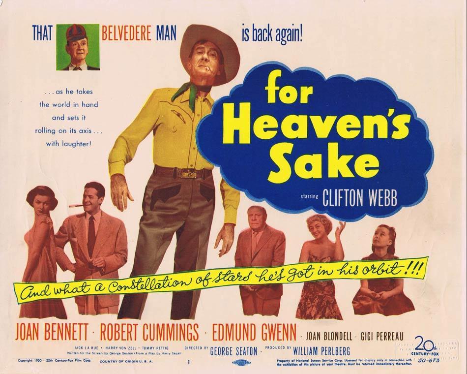 FOR HEAVEN'S SAKE Title Lobby Card Clifton Webb Joan Bennett