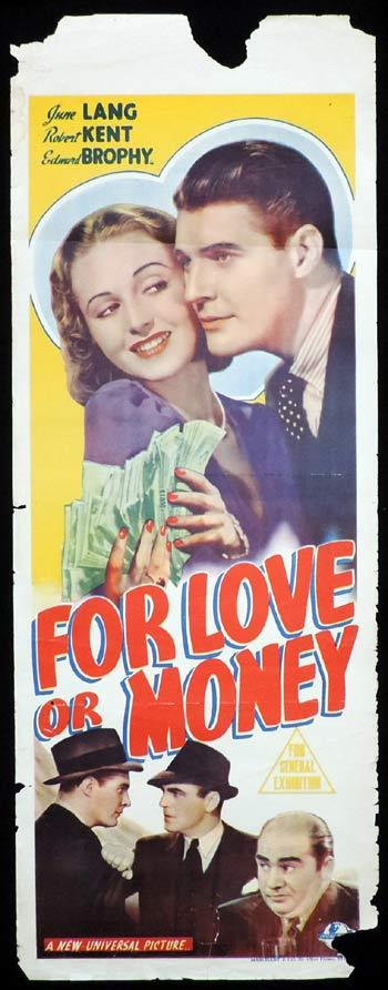 FOR LOVE OR MONEY Long Daybill Movie poster 1939 June Lang Robert Kent