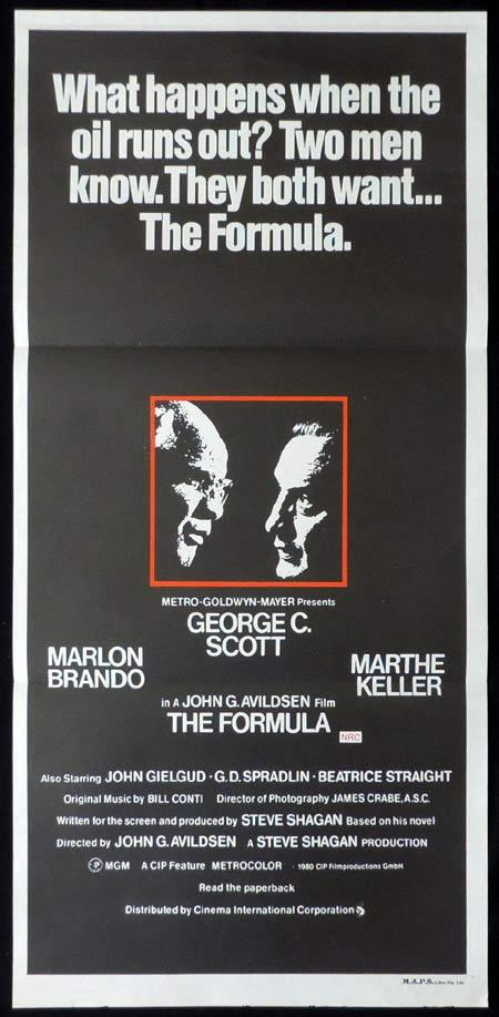 THE FORMULA Original Daybill Movie Poster George C. Scott Marlon Brando