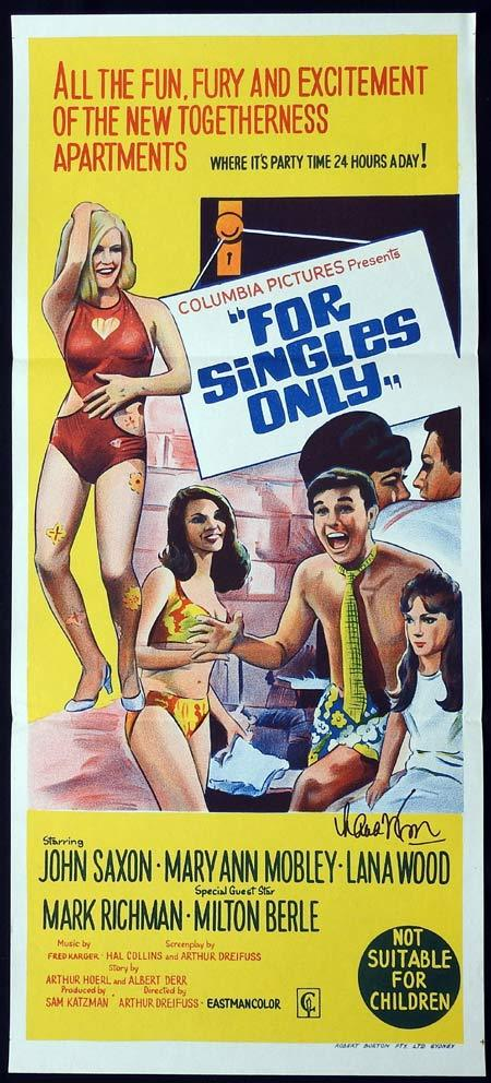 FOR SINGLES ONLY Original Daybill Movie Poster Autographed by Lana Wood
