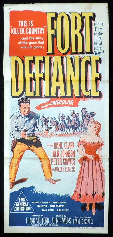 FORT DEFIANCE Original Daybill Movie Poster Dane Clark Ben Johnson