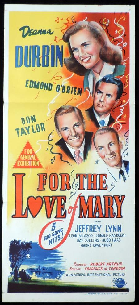 FOR THE LOVE OF MARY Original Daybill Movie Poster Deanna Durbin