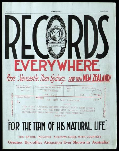 FOR THE TERM OF HIS NATURAL LIFE 1927 Australian Cinema VERY RARE Trade Advert