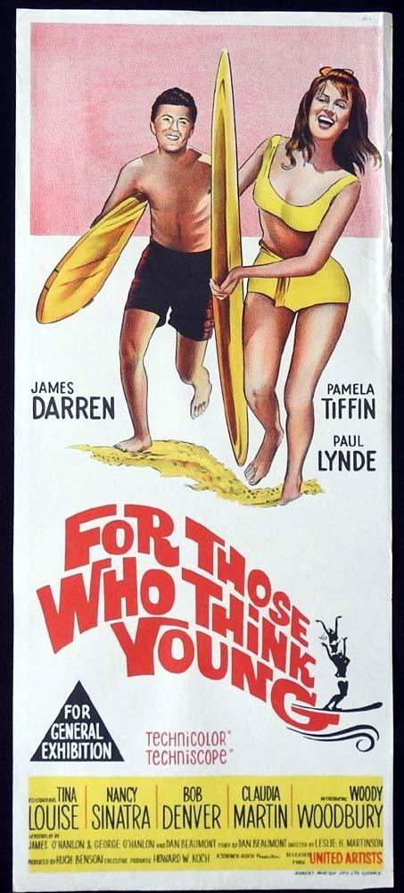 FOR THOSE WHO THINK YOUNG Original Daybill Movie Poster James Darren Surfing