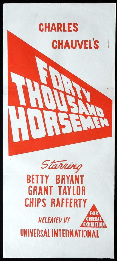 40,000 HORSEMEN 1950sr Daybill Movie Poster Charles Chauvel
