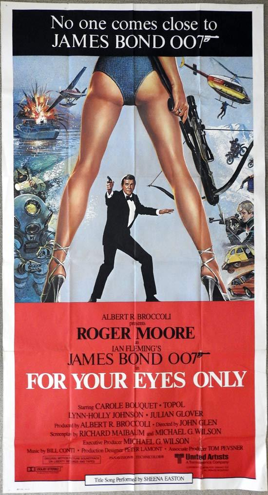 FOR YOUR EYES ONLY Original Three sheet Movie poster Roger Moore James Bond