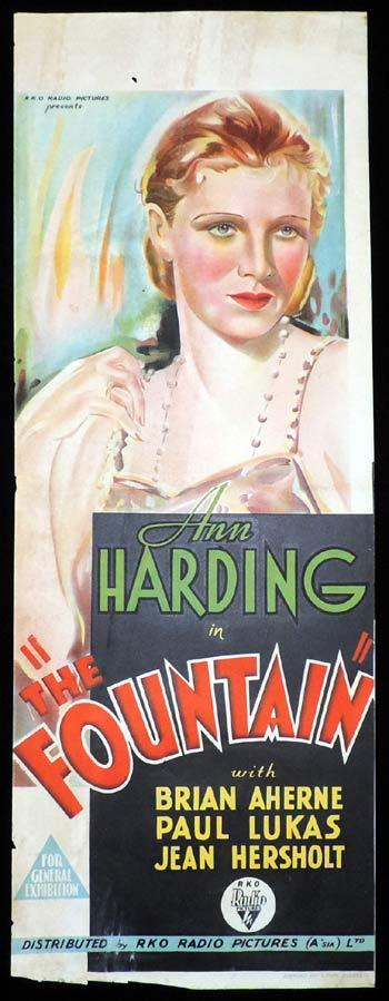 THE FOUNTAIN Long Daybill Movie poster 1934 Ann Harding