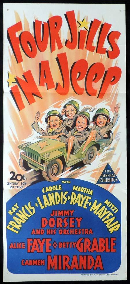 FOUR JILLS IN A JEEP Original Daybill Movie Poster Carole Landis