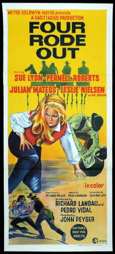 FOUR RODE OUT Original Daybill Movie Poster Sue Lyon Western