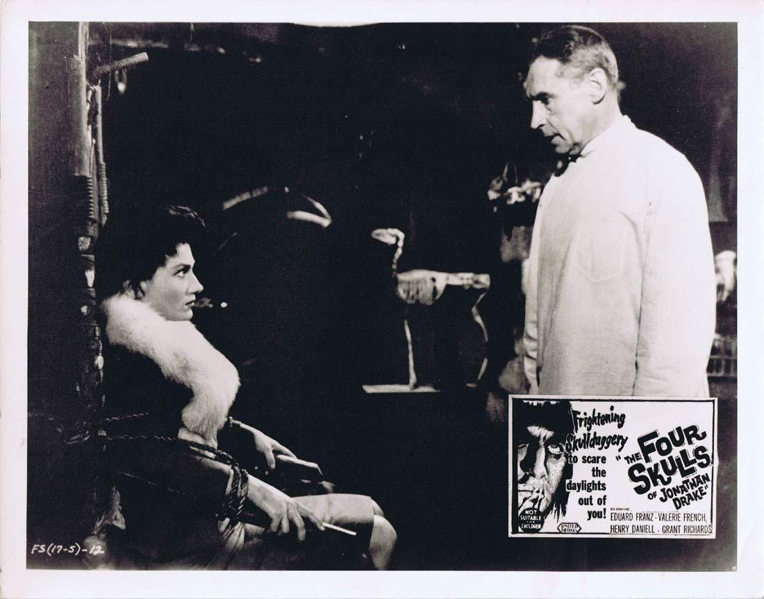 THE FOUR SKULLS OF JONATHAN DRAKEOriginal Australian Lobby Card 2 Valerie French Eduard Franz Horror