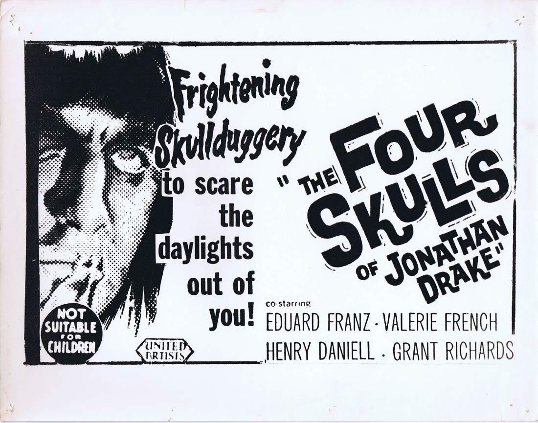 THE FOUR SKULLS OF JONATHAN DRAKEOriginal Australian Title Lobby Card Valerie French Eduard Franz Horror