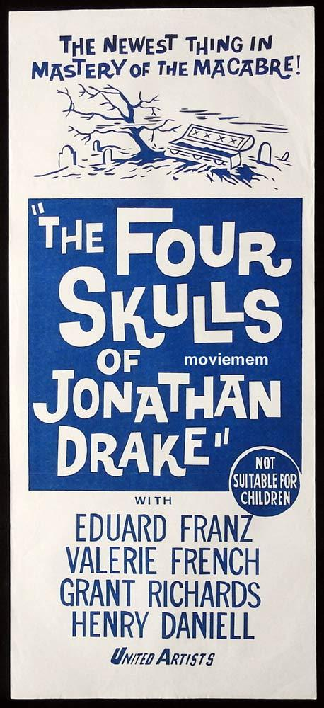 THE FOUR SKULLS OF JONATHAN DRAKE Original 60s Daybill Movie Poster Eduard Franz Valerie French