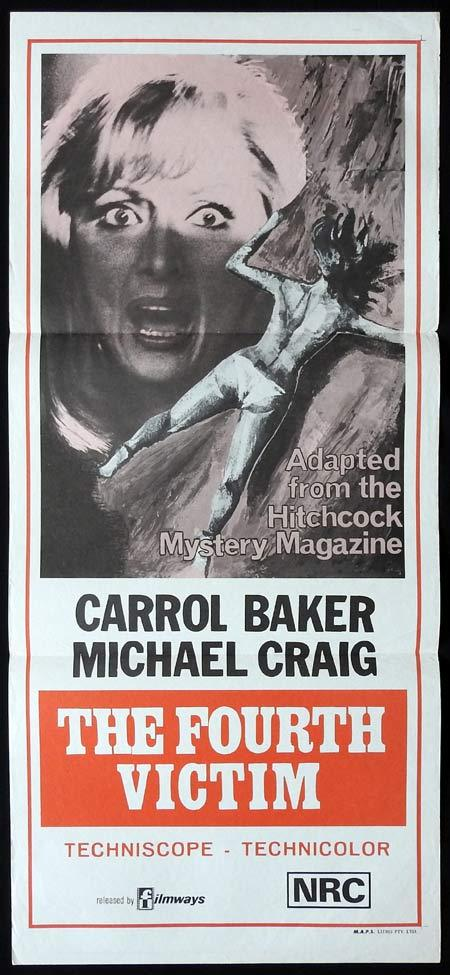 THE FOURTH VICTIM daybill Movie poster GIALLO Alfred Hitchcock Carroll Baker