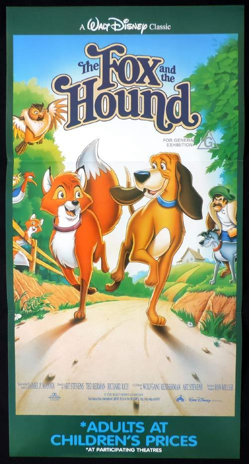 THE FOX AND THE HOUND Original Daybill Movie Poster Walt Disney Mickey Rooney