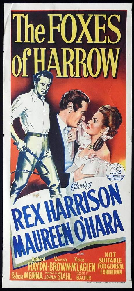 THE FOXES OF HARROW Original Daybill Movie poster Rex Harrison Maureen O'Hara