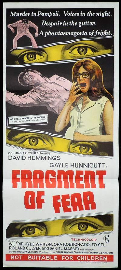 FRAGMENT OF FEAR Daybill Movie poster David Hemmings Gayle Hunnicut