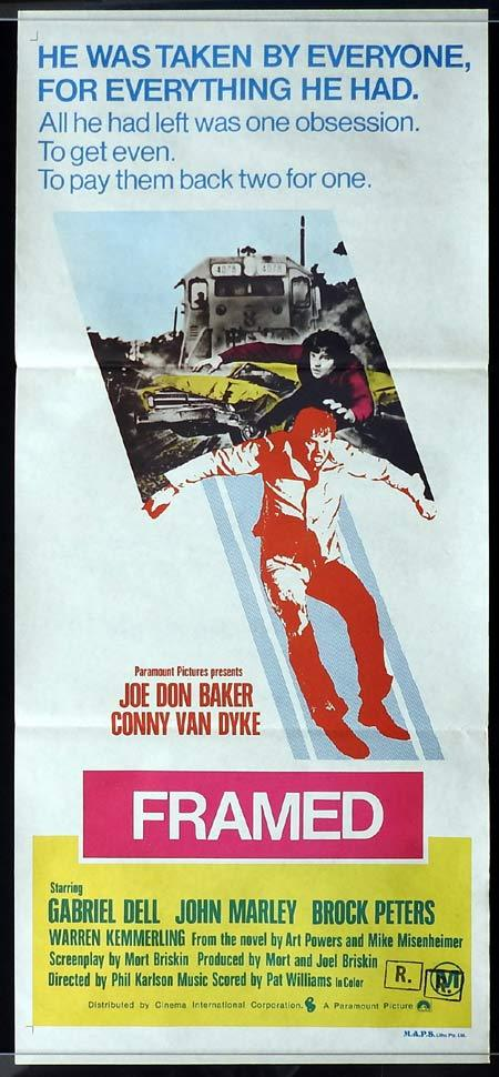 FRAMED Original Daybill Movie poster Joe Don Baker, Conny Van Dyke