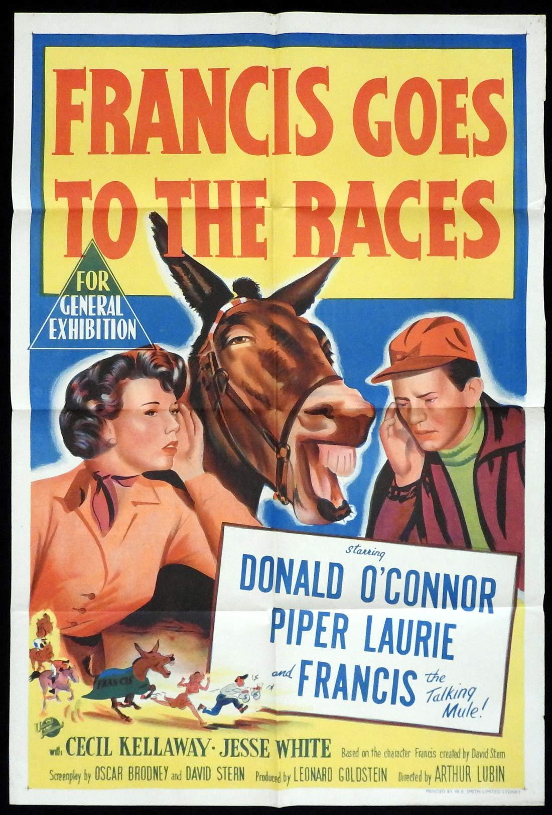 FRANCIS GOES TO THE RACES Original One sheet Movie poster Donald O'Connor Piper Laurie