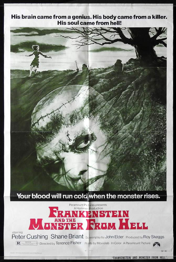 FRANKENSTEIN AND THE MONSTER FROM HELL US One sheet Movie poster Hammer Horror