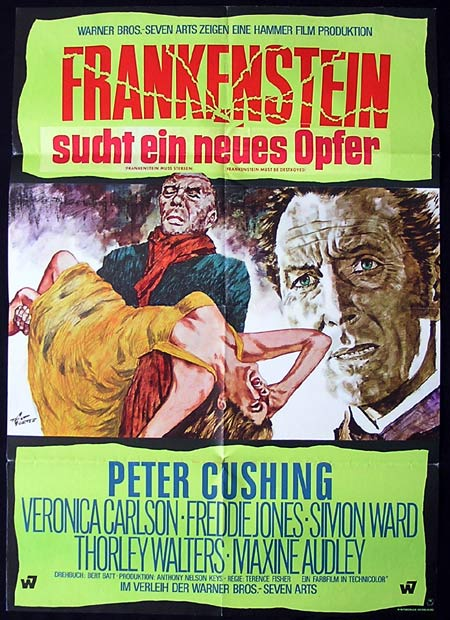 FRANKENSTEIN MUST BE DESTROYED German One sheet Movie poster Hammer Horror