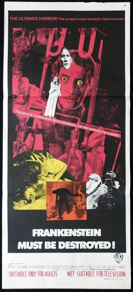 "FRANKENSTEIN MUST BE DESTROYED Original daybill Movie Poster HAMMER HORROR Peter Cushing ""A"""