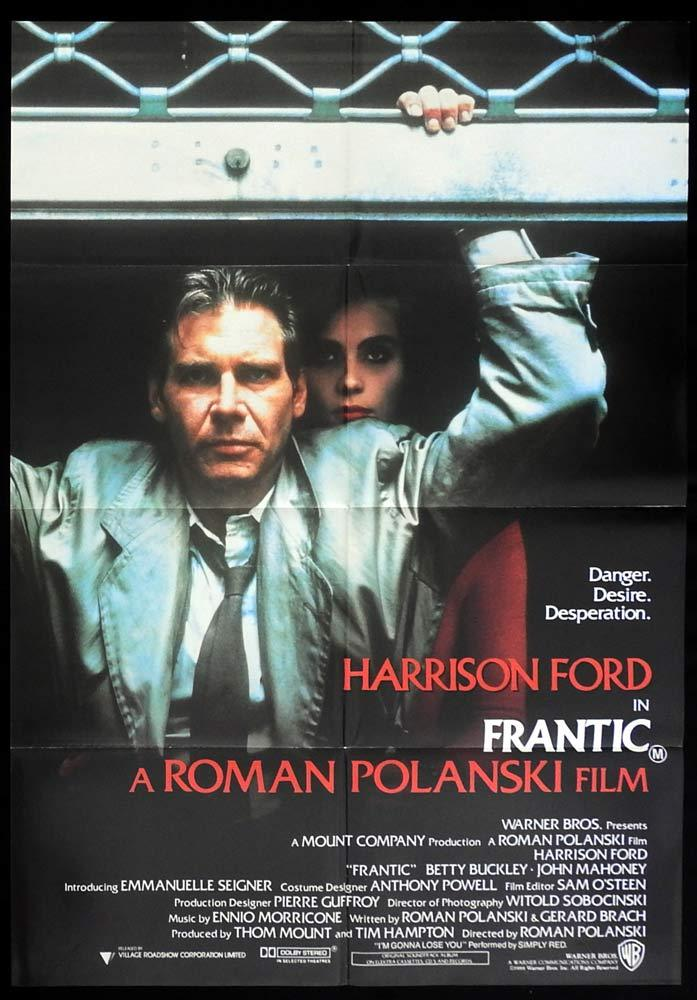 FRANTIC Original One sheet Movie Poster Roman Polanski Harrison Ford