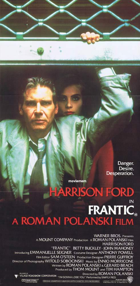 FRANTIC Original Daybill Movie Poster Roman Polanski Harrison Ford