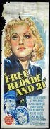FREE BLONDE AND 21 Movie Poster 1940 Mary Beth Hughes RARE Long daybill