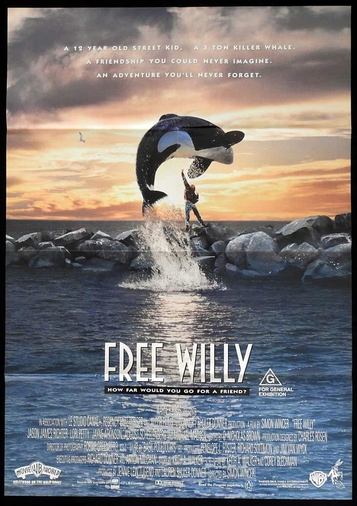 FREE WILLY Original One sheet Movie Poster Lori Petty Killer Whale