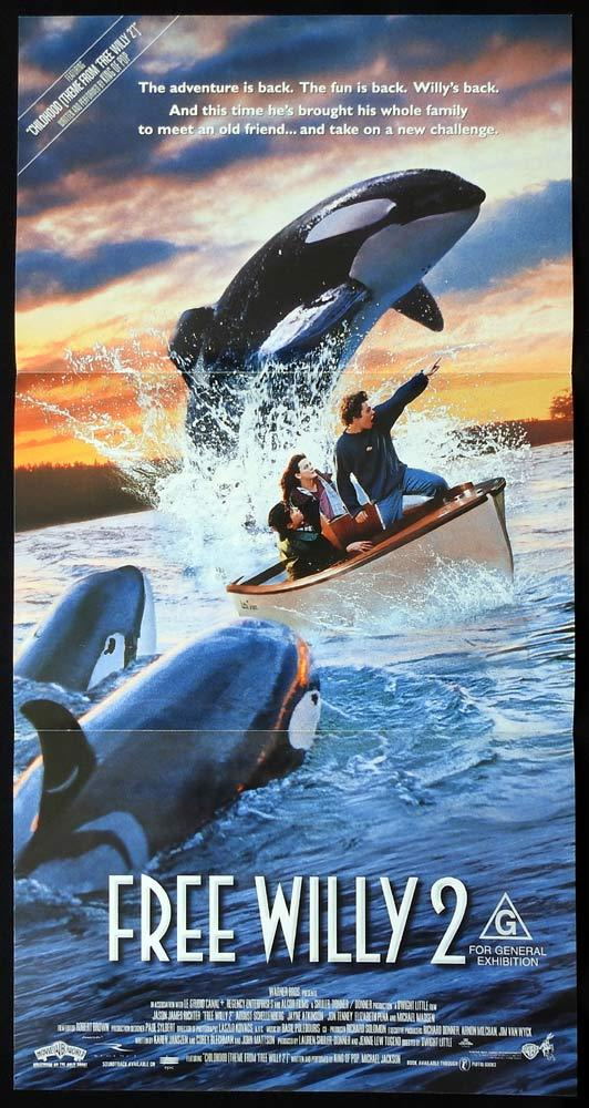FREE WILLY 2 Original Daybill Movie poster Killer Whate