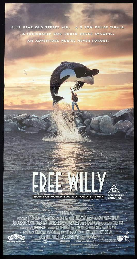 FREE WILLY Original daybill Movie Poster Lori Petty Killer Whale