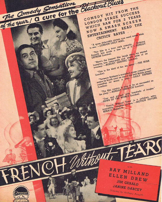 FRENCH WITHOUT TEARS 1940 Ray Milland Ellen Drew Movie Trade Ad 1