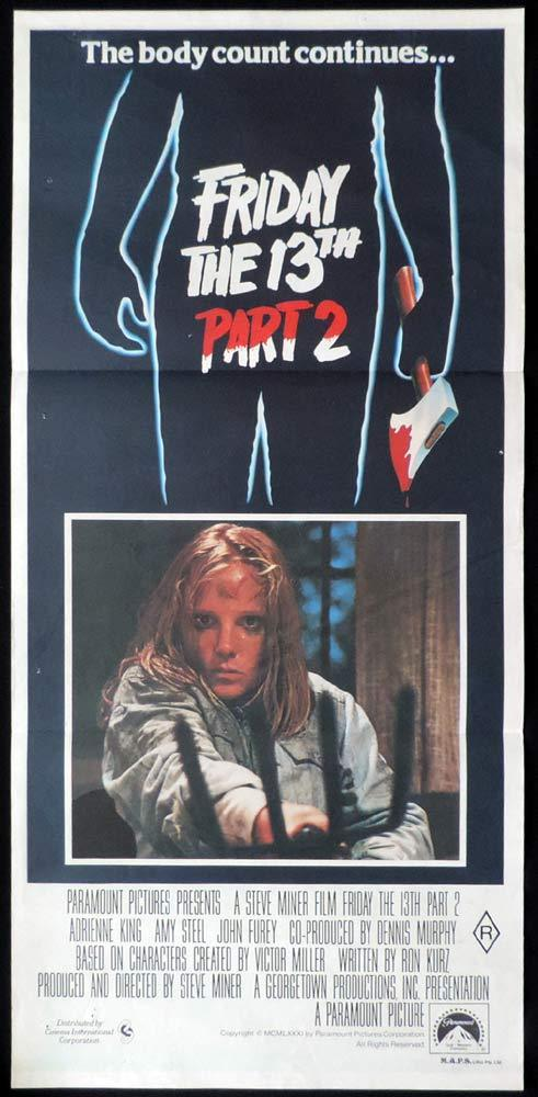 FRIDAY THE 13TH PART 2 Original Daybill Movie Poster Jason Vorhees Slasher Horror