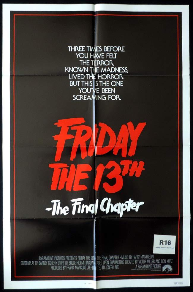 FRIDAY THE 13th THE FINAL CHAPTER Original One sheet Movie poster Horror Slasher