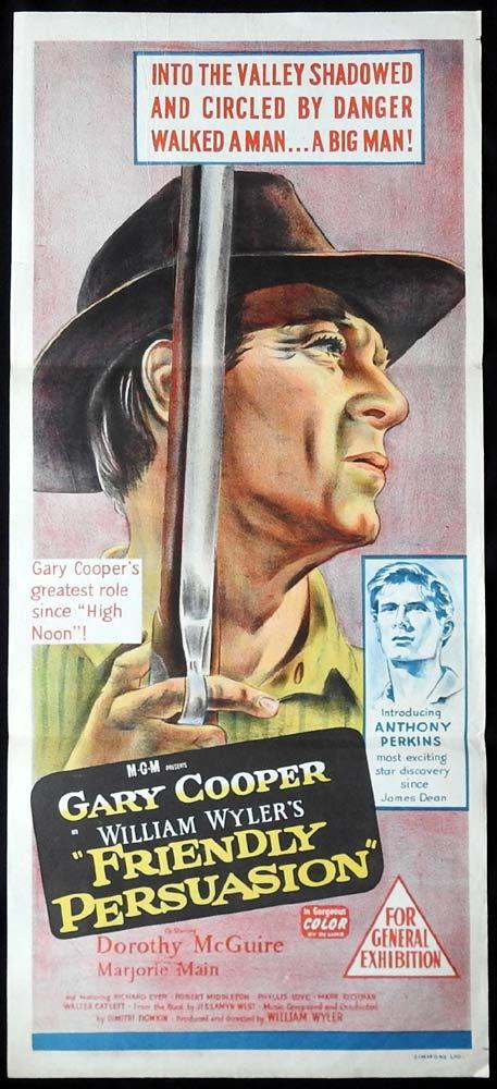 FRIENDLY PERSUASION Original Daybill Movie poster Gary Cooper Dorothy McGuire