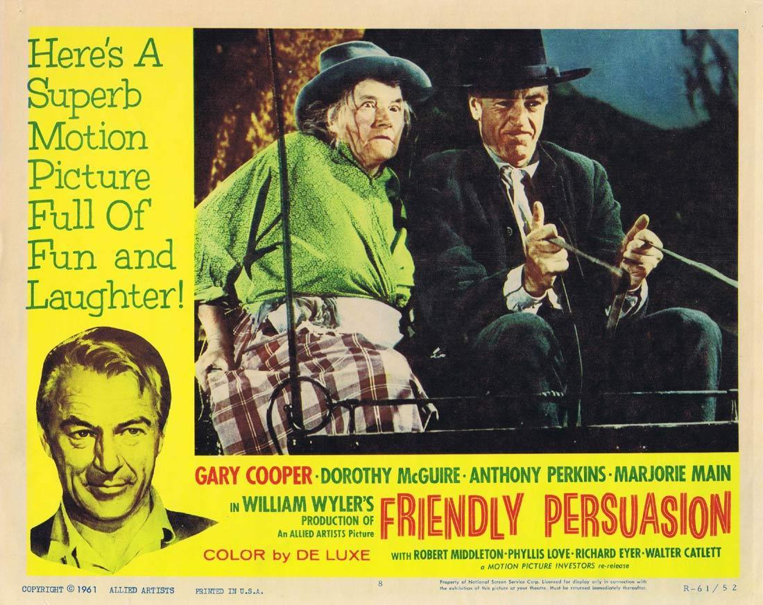 FRIENDLY PERSUASION Original Lobby Card 8 Gary Cooper Marjorie Main 1951r