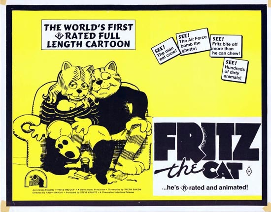 FRITZ THE CAT 1972 Ralph Bakshi ANIMATION Title Lobby Card