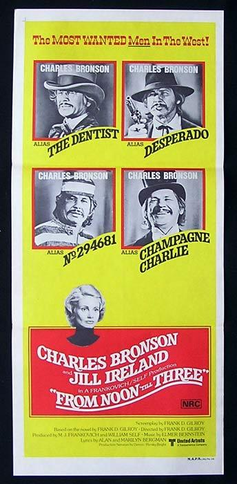FROM NOON TILL THREE Original Daybill Movie Poster Charles Bronson Jill Ireland