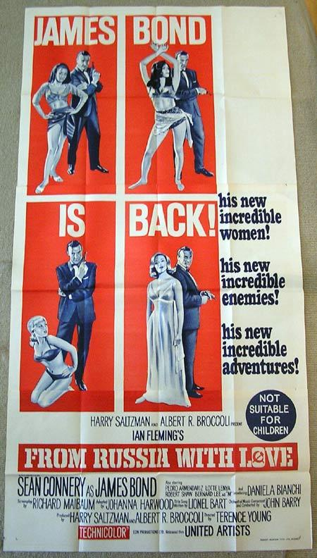 FROM RUSSIA WITH LOVE 1963 James Bond Connery ORIGINAL 3 sheet Movie poster