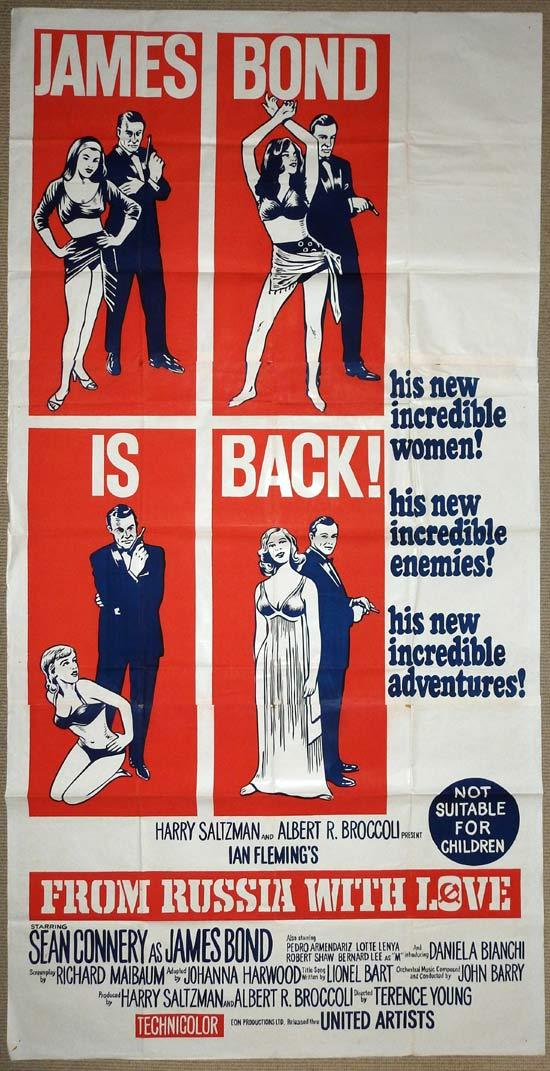 FROM RUSSIA WITH LOVE Three sheet Movie Poster 1963 James Bond
