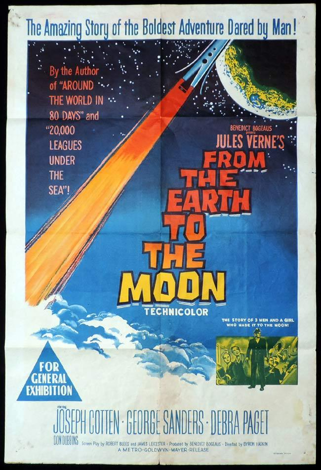 FROM THE EARTH TO THE MOON One Sheet Movie Poster Joseph Cotten George Sanders Science Fiction