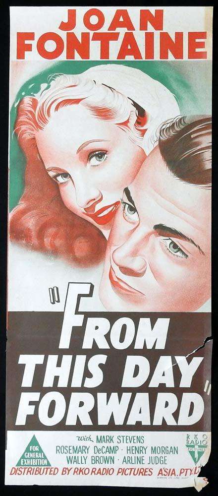 FROM THIS DAY FORWARD Original Daybill Movie poster RKO Joan Fontaine Mark Stevens